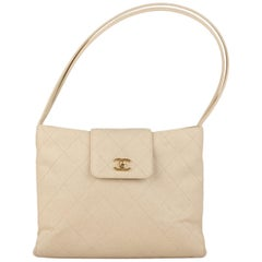 Chanel Beige Canvas Quilted Tote Shoulder Bag