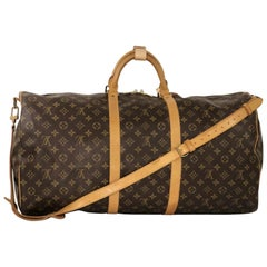 Louis Vuitton Monogram Keepall Bandoliere 60 Top Handle Travel Bag