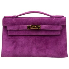 Hermes Kelly Pochette Suede Violet Purple Clutch Bag Gold