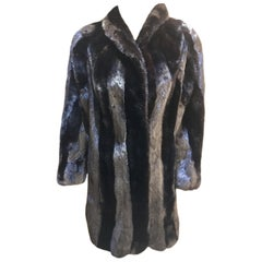 Gorgeous Black Mink Fur Coat with Vertical Striped Black on Black Effect