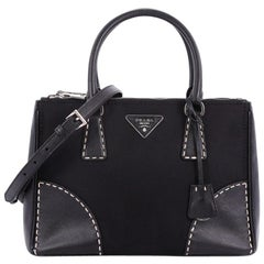 Prada Double Zip Convertible Tote Stitched Tessuto and Saffiano Small
