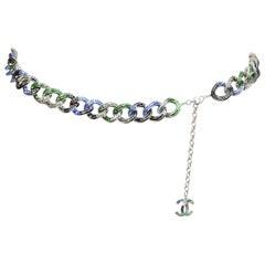 "Chanel Blue/Green/Black Crystal Encrusted Chain Belt 32"" W/ CC rt. $14,200"