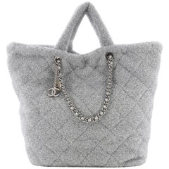 Chanel Shopping Tote Quilted Knit Pluto Glitter Large