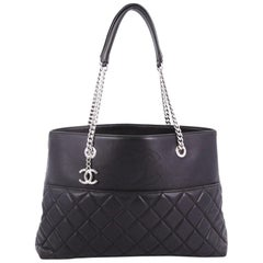 Chanel CC Charm Open Shopping Tote Quilted Lambskin Large