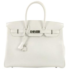 Hermes Birkin Handbag Blanc Clemence with Palladium Hardware 35