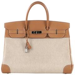 Hermes Birkin Handbag Toile and Brown Chamonix with Palladium Hardware 40