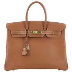 Hermes Birkin Handbag Gold Courchevel with Gold Hardware 35