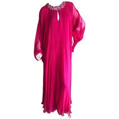 Oscar de la Renta Red Pleated Silk Chiffon Caftan with Jeweled Neckline