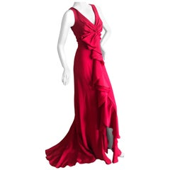 Valentino Vintage Signature Red Low Cut Silk Chiffon Evening Dress with Train