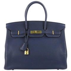 Hermes Birkin Handbag Bleu Saphir Clemence with Gold Hardware 35