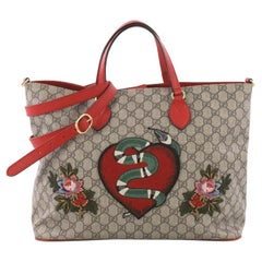 Gucci Convertible Soft Tote Embroidered GG Coated Canvas Medium