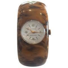 Art Deco Bakelite Watch by Biltmore in Mississippi Mud hinged clamper