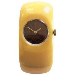 Art Deco Bakelite Watch in Corn yellow hinged clamper bracelet