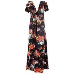 documented 1974 YVES SAINT LAURENT rive gauche floral maxi dress
