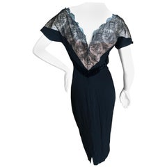 Dorothy O'Hara Hollywood Vintage 1950's Lace Cocktail Dress with Velvet Trim