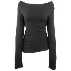 RICK OWENS Size 10 Black Viscose Blend Draped Off Shoulder Long Sleeve Top