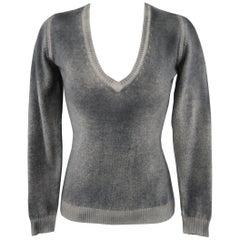 AVANTI Size S Grey Washed Effect Cashmere V Neck Sweater