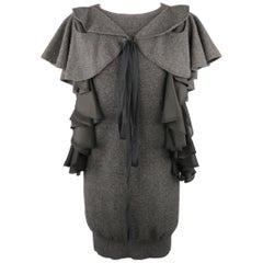 SACAI Size M Grey Wool Knit Black Silk Ruffle Bow Sweater Dress