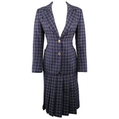 Vintage CELINE Size 10 Navy Windowpane Wool Pleated Skirt Set