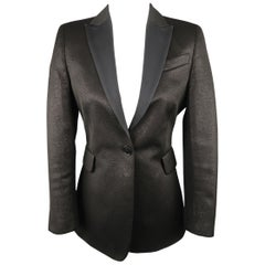 AKRIS Size 6 Black Sparkle Fabric Twill Peak Lapel Tuxedo Jacket