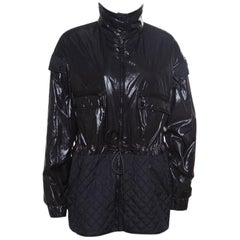 Chanel Black Quilted Paneled Tie Detail Zip Front Jacket M
