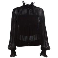 Chanel Black Sheer Silk Pintucked Ruffle Detail Blouson Top L