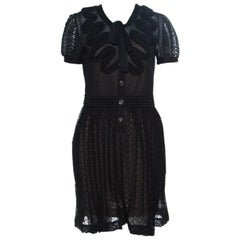 Chanel Black Textured Knit Ruffled Applique Detail Button Front Dress M