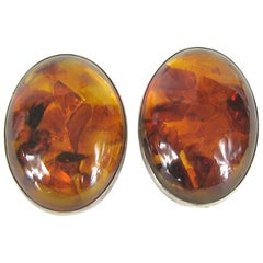 Massive Baltic Amber Sterling Silver Earrings