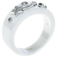 Chanel Cosmique de Chanel Diamond 18k White Gold Ceramic Band Ring Size 50