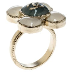 Chanel CC Flower Resin Gold Tone Ring Size 52