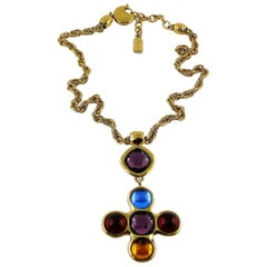 Yves Saint Laurent YSL Robert Goossens Vintage Jewelled Cross Necklace