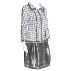 Chanel Grey and White Textured Lace Trim Jacket and Skirt Set M