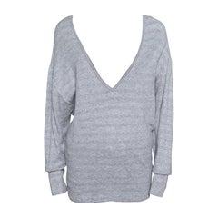 Chanel Grey Cotton Knit V-Neck Sweater M