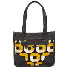 Prada Brown Printed Canvas Shoulder Bag