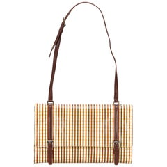 Prada Brown Striped Leather Shoulder Bag