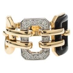 Chanel Première Diamond Onyx & 18K Yellow Gold Chain Link Ring Size 54