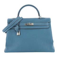 Hermes Kelly Handbag Blue Jean Togo with Palladium Hardware 35
