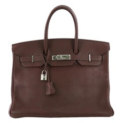 Hermes Birkin Handbag Bicolor Clemence with Palladium Hardware 35