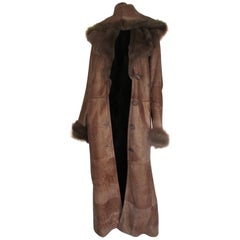 Hooded Gold Tone Silk Soft Lamb Shearling Long Coat
