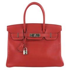 Hermes Birkin Handbag Rouge Vif Swift with Palladium Hardware 30