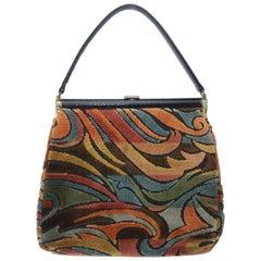 C.1960 Julius Resnick Mod Velvet Carpetbag Handbag