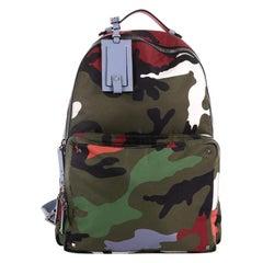 Valentino Camouflage Backpack Nylon and Leather Large