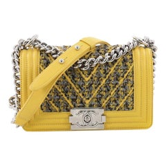 Chanel Boy Flap Bag Chevron Lambskin and Tweed Small