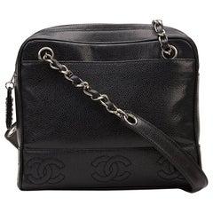 Chanel 1996 Black Caviar Leather Vintage Timeless Logo Trim Shoulder Bag