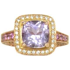 Levian 14K Gold Amethyst & Pink Sapphire Diamond Ring Sz 6 rt. $1,600