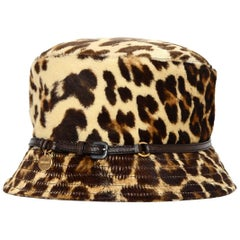 Prada Leopard Print Pony Hair Bucket Hat W/ Leather Trim Sz M