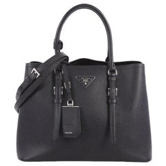Prada Cuir Covered Strap Double Tote Saffiano Leather Medium