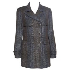 Chanel Textured Ombre Chevron Pattern Double Breasted Blazer M