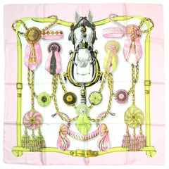 Hermes Pink/White Frontaux Et Cocardes Horse/Ribbon Print 90cm Silk Scarf
