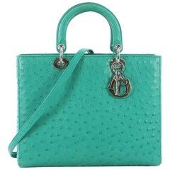 Christian Dior Lady Dior Handbag Ostrich Large